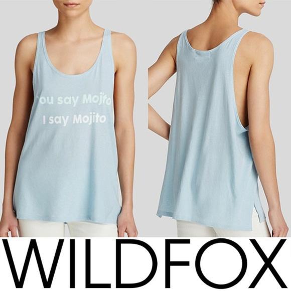99a4b287458725 NWT Wildfox You Say Mojito Tank Top Blue Medium